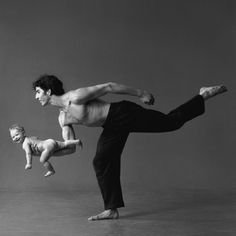 Lois Greenfield, 1983, photo of Daniel Ezralow and Adee.  I remember seeing this photo when I was younger and realizing parenting has got to be fun.