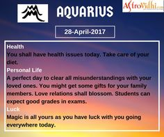 Read Your Free Aquarius Daily Horoscope (28-April-2017). Read detailed horoscope at astrovidhi.com. Sagittarius Daily Horoscope, Free Daily Horoscopes, Aquarius Daily, Leo Zodiac, Scorpio, Sailing Day, Feeling Fatigued, Meeting Someone New, Scorpion