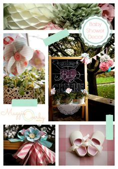 Baby shower decor in pale pink and aqua.