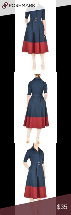 "New Eshakti Fit & Flare Shirt Dress XL 16 New Eshakti navy & red  fit and flare shirt dress. Size XL 16  Measured flat: Underarm to underarm: 40"" Waist: 35""  Length: 46 ½"" Sleeve: 12""  Eshakti size guide for XL 16 bust: 41 ½"" Point collar, short hidden button frontm elbow length sleeves, single button cuffs. Princess seamed bodice, removable two-ring belt. Hidden side zipper, side seam pockets. Cotton, woven poplin, pre-shrunk, smooth finish, light crisp feel, no stretch, mid-weight. Machine…"