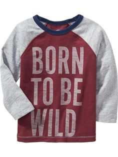 Color-Block Text-Graphic Tees for Baby