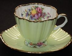 EB Foley LIME BRUSH FLORA DELICIOUS FRUIT simplyTclub Tea cup and saucer
