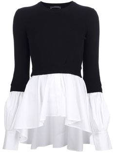 ALEXANDER MCQUEEN pleated bi-colour sweater