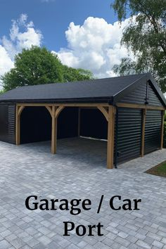 Unique project for the team at Baker's Timber Buildings - a garage and carport made of oak and redwood, with a room at one side and parking spaces for two vehicles.  #carport #garage #timberbuildings #Surrey #London