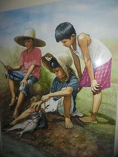 Waiting For A Bigger Fish Painting by Jose Vistan Art Sketches, Art Drawings, Composition Painting, Philippine Art, Cute Kids Photography, Art Village, Indian Art Paintings, Big Fish, Watercolor Paintings