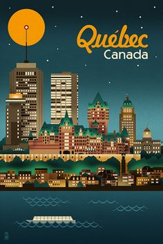 Quebec, Canada - Retro Skyline - Lantern Press Artwork