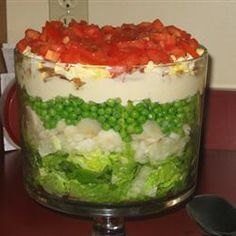 "Layered Salad Allrecipes.com- ""This is a wonderful recipe which can have ingredients added or subtracted. Even if there is only two of you to eat it, don't cut the recipe in half because I'm sure you'll want more."""