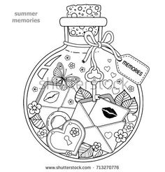 Vector Coloring book for adults. A glass vessel with memories of summer. A bottle with flowers, butterflies, ladybug, leaves and letters of love with kisses and hearts - buy this stock vector on Shutterstock & find other images. Adult Coloring Book Pages, Printable Adult Coloring Pages, Cute Coloring Pages, Coloring Books, Coloring Sheets, Arts And Crafts For Adults, Doodle Art Drawing, Digi Stamps, Drawing People