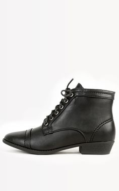 Pointed lace up ankle booties, these def have a character!  | MakeMeChic.com