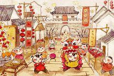 热闹的新年街 (Celebrating Chinese New Year - Lively Streets)