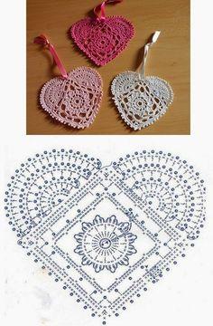 Motiv Herz häkeln - Coração Heart - Crochet heart pattern Knitting For BeginnersKnitting HatCrochet Hair StylesCrochet Stitches Filet Crochet, Crochet Motifs, Crochet Diagram, Crochet Chart, Crochet Squares, Thread Crochet, Crochet Doilies, Crochet Flowers, Irish Crochet