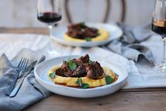Maggie Beer's Slow-Braised Beef Cheeks in Barossa Shiraz with Soft Polenta