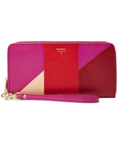 Fossil Sydney Leather Patchwork Zip Clutch