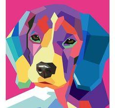 Een veel hoekig pop-art portret van jouw hond, de polygoon stijl