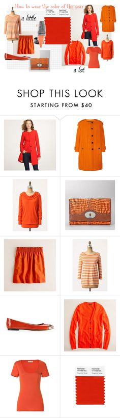 """How to wear Tangerine Tango"" by franticbutfabulous ❤ liked on Polyvore featuring J.Crew, Burberry, FOSSIL, Vince Camuto, Michael Stars, Pantone, Pastry, color blocking, tangerine and orange"
