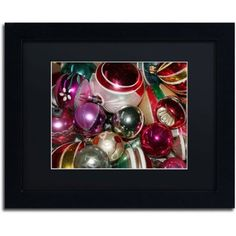 Trademark Fine Art Vintage Christmas Canvas Art by Patty Tuggle, Black Matte, Black Frame, Size: 11 x 14