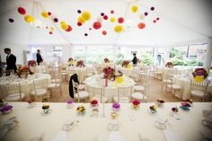 WWW readers Naomi and Peter tied the knot at Fulham Palace, London, with a colourful decorated marquee for their reception. Naomi told me; Wedding Venues Surrey, Unique Wedding Venues, Wedding Blog, Wedding Ideas, Giant Flowers, Silk Flowers, Paper Flowers, Flower Window, Paper Pom Poms