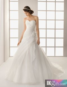 Elegant A Line Sweetheart Organza and Flower Chapel Train Organza Wedding Dress - A-Line Dresses - Wedding Dresses - Wedding & Events