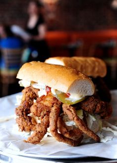 Soft Shell Crab Po Boy. This is one my favorite things in the whole world!!!
