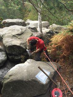 Removing dangerous Boulder Isolated Buttress Harrison's Rocks