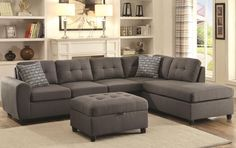 nice Coaster 500413 Couch Chaise Sectional With Metal Gray Material Upholstery Check more at https://aeoffers.com/product/home-and-garden/coaster-500413-couch-chaise-sectional-with-metal-gray-material-upholstery/