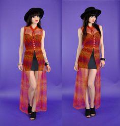 Sheer 90's dress 1990's vintage vtg sheer maxi by youngandukraine, $54.00