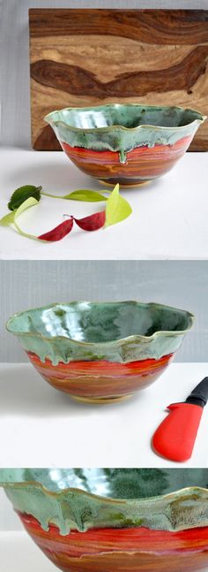 Flower Bowl in Autumn Song from Lee Wolfe Pottery