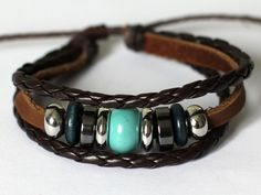 064 Handmade Brown leather bracelet Fashion jewelry woman gift cuff Woven bracelet Blue stone beads.
