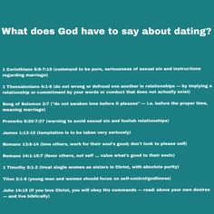 What does God have to say about dating? http://www.boundless.org/relationships/2012/biblical-dating-how-its-different-from-modern-dating