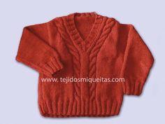"""Edad: TALLA 6 años (5 años)Materiales: Lana Valeria di Roma """"Delfos"""" 220 gramos Agujas: Agujas 4,5 y 5 PUNTADAS UTILIZADAS: Punto jersey ver puntadas 1 n. 2 Punto elástico doble ver, puntada… Baby Sweaters, Knit Crochet, Baby Boy, Knitting, Boys, Pattern, Fashion, Knitting Patterns, Templates"""