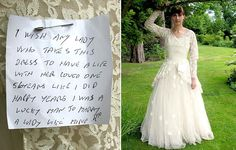 """The message reads: """"I wish any lady who takes this dress to have a life   with her loved one, 56 years like I did, happy years"""""""