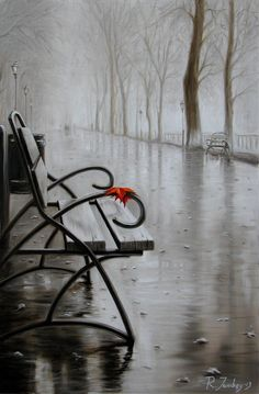 After rain - Painting, cm by Rauf Janibekov - Painting, Oil Rain Photography, White Photography, I Love Rain, Rain Painting, Rain Art, Singing In The Rain, Abstract Painters, Black And White Pictures, Rainy Days