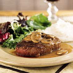 Filet Mignon with Mushroom-Wine Sauce ~ romantic dinners for two from cooking light
