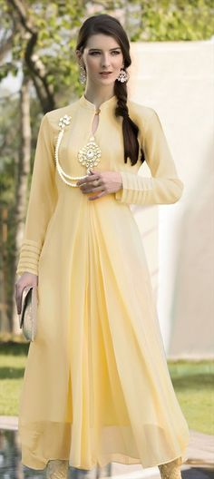 437268 Yellow color family Kurti, Long Kurtis in Faux Georgette, Viscose fabric with Patch, Stone work .