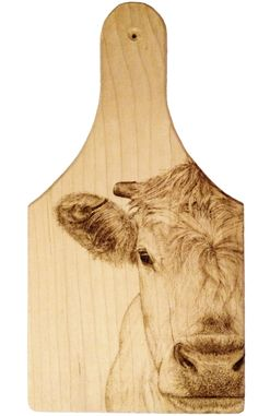 Dairy Calf on Maple Cheeseboard - Pyrography by Alexandra Glueckler