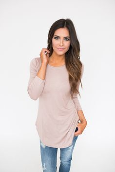 Solid Curved Hem Basic- Beige - Dottie Couture Boutique