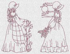 INSTANT DOWNLOAD Sunbonnet Ladies Evenings Redwork Machine Embroidery Designs