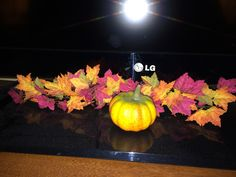 Leaves and pumpkin in front of television