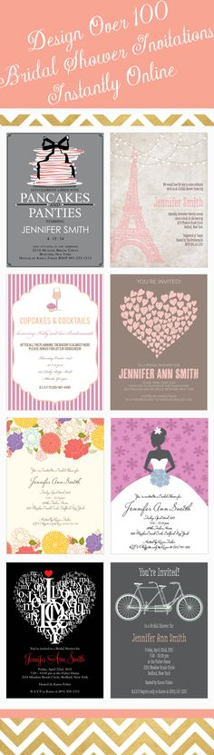 Trendy bridal shower design that can be instantly customized with over 160 different color options and real-time previews.