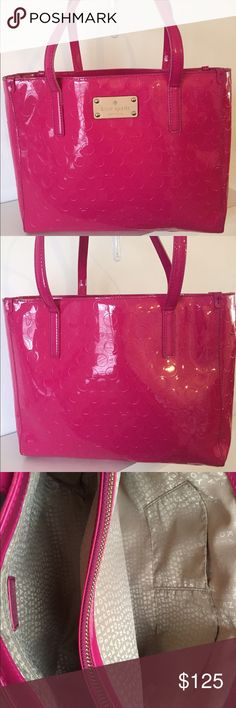 """Kate Spade Patent Leather Quinn Pink Tote Bag Kate Spade patent leather Quinn bag in pink!! This bag measures 10"""" in height, 12.5"""" in length, and it has a 7.5"""" strap drop. The interior has three compartments, one side has a zip pocket, the other side has two multifunctional pockets, and there is a pocket that zips across the center. Gorgeous bag in great condition!! kate spade Bags Totes"""