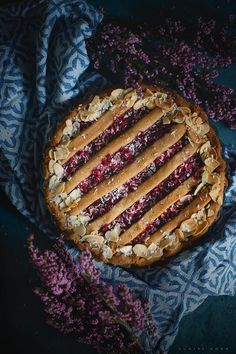 Rhubarb and berry pie with peanut butter cookie crust by claire gunn