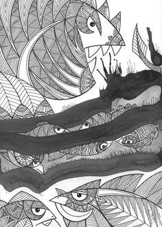 """Under the surface"". 21 x 29,7 Mixed media. Authors: Iwona Biernacka & Witold Kubicha"