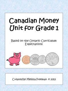 Canadian Money Unit for Grade 1 (Based on the Ontario Curriculum) 1st Grade Math, Kindergarten Math, Teaching Math, Grade 1, Learning Money, Ontario Curriculum, Money Activities, Money Worksheets, Math Measurement