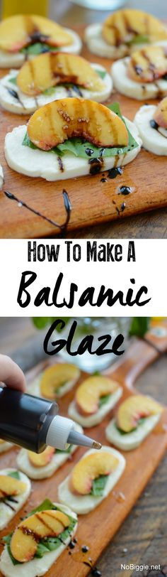 Fresh peach caprese salad appetizer with a homemade balsamic glaze. Watch the video to see how to make the balsamic glaze. Appetizer Salads, Appetizer Recipes, Appetizers, Savoury Recipes, Balsamic Glaze Recipes, Caprese Salad, I Foods, Food Videos, Love Food