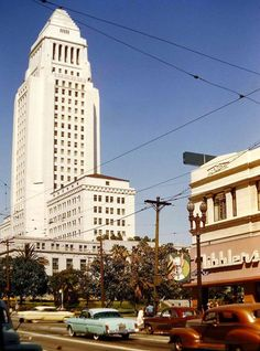 L.A. City Hall seen from 1st and Spring St. in 1955. The 32-story structure opened in 1928 and was L.A.'s tallest building until the city lifted height restrictions in 1964