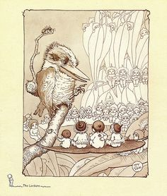 The Lecture, from Snugglepot and Cuddlepie: their adventures wonderful, 1918 May Gibbs, Ink  grey wash, PXD 304/2/119 May Gibbs' iconic 'Snugglepot and Cuddlepie: their adventures wonderful' was first published in 1918 by Angus  Robertson.