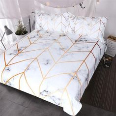 Blessliving White Marble Bedding Geometric Rose Gold Stripes Lines Pattern Duvet Cover 3 Pieces Ultra Soft Nature Home Decor Marble Bed Set (Twin)
