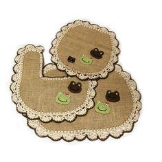 Jogo de tapetes para banheiro em juta e crochê, 3 peças