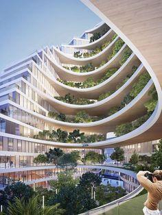 Hotel Design Architecture, Architecture Concept Drawings, Green Architecture, Organic Architecture, Futuristic Architecture, Amazing Architecture, Landscape Architecture, Chinese Architecture, Eco City