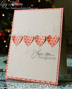 handmade Valentine/love card ... row of punched hearts, each sewn down the middle ... printed paper matching the hearts as mat layer ... cute .. Stampin'Up!